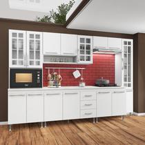 Cozinha completa fidelita viena modulada 6 peças 295 cm 15 portas 3 gavetas com tampo branco - COZINHAS FIDELITÁ