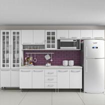 Cozinha completa fidelita viena modulada 6 peças 330 cm 15 portas 3 gavetas com tampo branco - COZINHAS FIDELITÁ