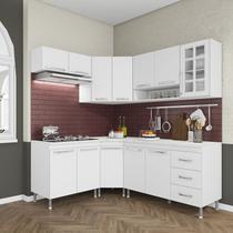 Cozinha completa fidelita viena modulada 6 peças 340 cm 12 portas 3 gavetas com tampo branco - COZINHAS FIDELITÁ