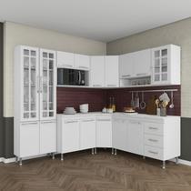Cozinha completa fidelita viena modulada 7 peças 410 cm 16 portas 3 gavetas com tampo branco - COZINHAS FIDELITÁ