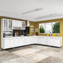 Cozinha completa fidelita viena modulada 7 peças 600 cm 16 portas 6 gavetas com tampo branco - Cozinhas Fidelitá