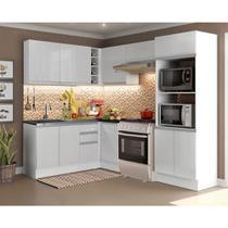 Cozinha Completa Madesa 100% MDF Acordes Glamy de Canto Portas Branco Brilho (Sem Tampo e Pia) -