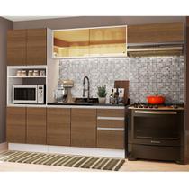 Cozinha Completa Madesa Acordes 100% MDF com Armário e Balcão (Sem Tampo e Pia) - Branco/Rustic -