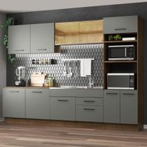 Cozinha Completa Madesa Agata 310001 com Armário e Balcão (Sem Tampo e Pia) - Rustic/Cinza -