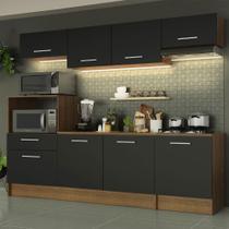 Cozinha Completa Madesa Onix 240001 com Armário e Balcão - Rustic/Preto -