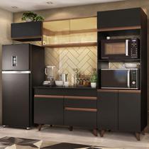 Cozinha Completa Madesa Reims 260001 com Armário e Balcão - Preto/Rustic -