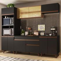 Cozinha Completa Madesa Reims 260002 com Armário e Balcão - Preto/Rustic -