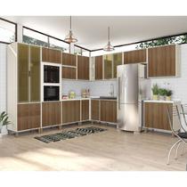 Cozinha Completa Modulada 12 Peças, Paneleiro Vidro Reflecta Armários e Balcões Linea Luciane Móveis - Kit