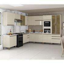 Cozinha Completa Modulada 12 Peças Torre Quente Vidro Reflecta Armários Balcões Linea Luciane Móveis - Kit