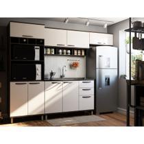Cozinha Completa Modulada 4 Peças com Paneleiro Torre, Armários e Balcão de Pia Sara Luciane Móveis - Kit