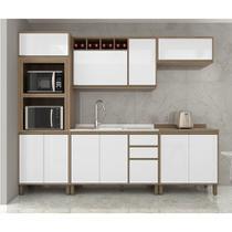 Cozinha Completa Modulada 5 Peças com Torre Forno e Microondas Armário e Balcão Yara Luciane Móveis - Kit