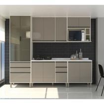 Cozinha Completa Modulada 6 Peças, Paneleiro Vidro Reflecta, Armários e Balcões Linea Luciane Móveis - Kit