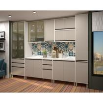 Cozinha Completa Modulada 8 Peças Vidro Reflecta, Paneleiros Armários e Balcões Linea Luciane Móveis - Kit