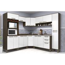 Cozinha Completa Modulada de Canto 8 Peças, Paneleiro Torre, Armários e Balcões Sara Luciane Móveis - Kit
