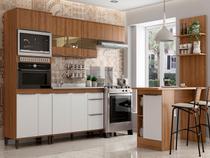 Cozinha Completa Modulada Ilha Gourmet 268/135 Cm 6 Peças 10 Portas 3 Gv MDP Mel Branco - ClickLar - Click Lar