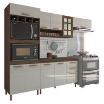 Cozinha Completa Modulada Lauren Balcão Armário 2 Fornos com Tampo Marrom Branco - Stx Móveis