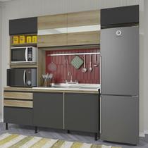 Cozinha Completa Modulada Leza Balcão Pia Armário 2 Fornos Sem Tampo Castani Cinza - STX Móveis