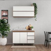 Cozinha Completa Modulada Sabrina 120 Cm Armário e Balcão 3 Peças 4 Pt 3 Gv MDP Branco Avelã - MENU - Menu Móveis