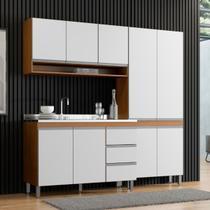 Cozinha Completa Modulada Sabrina 200 Cm Armário e Balcão 3 Peças 9 Pt 3 Gv MDP Branco Avelã - MENU - MenuMóveis