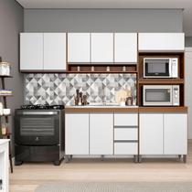 Cozinha Completa Modulada Sabrina 280 Cm Armário e Balcão 4 Peças 10 Pt 3 Gv MDP Branco Avelã - MENU - MenuMóveis