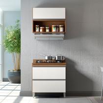Cozinha Completa Modulada Sabrina 80 Cm Armário e Balcão 3 Peças 1 Pt 2 Gv MDP Branco Avelã - MENU - Menu Móveis