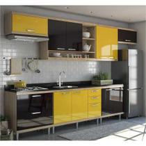 Cozinha Completa Multimóveis com 7 peças Sicília 5800 Argila/Preto/Amarelo -