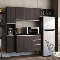 Cozinha Completa Poliman Móveis Laura - com Balcão 8 Portas 2 Gavetas - Amêndoa -