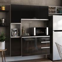 Cozinha Completa Poliman Móveis Laura - com Balcão 8 Portas 2 Gavetas - Branco/ Preto -