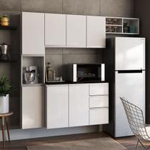 Cozinha Completa Poliman Móveis Laura - com Balcão 8 Portas 2 Gavetas - Branco -