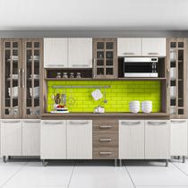 Cozinha completa sophie paris modulada 6 peças 295 cm 15 portas 3 gavetas com tampo nogal salinas nogal - COZINHAS SOPHIE