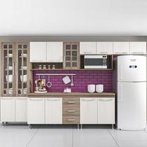 Cozinha completa sophie paris modulada 6 peças 330 cm 15 portas 3 gavetas com tampo nogal salinas nogal - COZINHAS SOPHIE