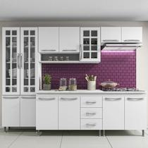 Cozinha completa sophie viena modulada 5 peças 260 cm 13 portas 3 gavetas com tampo branco - COZINHAS SOPHIE
