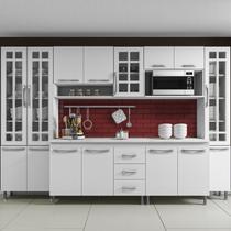 Cozinha completa sophie viena modulada 6 peças 295 cm 15 portas 3 gavetas com tampo branco - Cozinhas Sophie