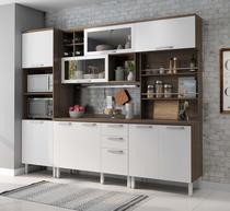 Cozinha Completa Thea Alecrim 4 Peças com Balcão, Paneleiro Microondas e Porta-temperos Nogueira/Branco - Thela