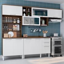Cozinha Completa Thela Alecrim 4 Peças com Balcão e Paneleiro Porta-Temperos Nogueira/Branco -