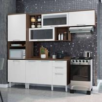 Cozinha Completa Thela  Alecrim 4 Peças com Balcão Nogueira/Branco -