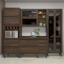 Cozinha Completa Thela Canela 4 Peças com Cristaleira Nogueira -