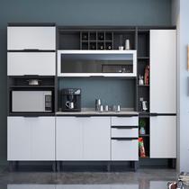 Cozinha Completa Thela Hibisco 4 Peças com Balcão e Paneleiro com USB Grafite/Branco -