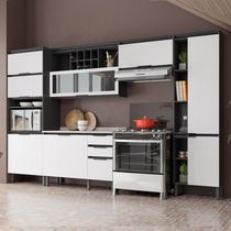 Cozinha Completa Thela  Hibisco 5 Peças com Balcão com Tampo e Paneleiro com USB Grafite/Branco -