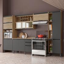 Cozinha Completa Thela Hibisco 5 Peças com Balcão e Paneleiro com USB Aveiro/Grafite -