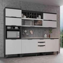 Cozinha Completa Thela Hibisco 5 Peças com Balcão Grafite/Branco -