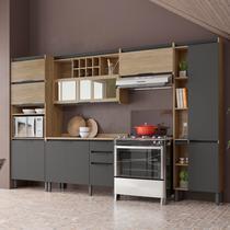 Cozinha Completa Thela Hibisco 5 Peças Paneleiro com USB Aveiro/Grafite -