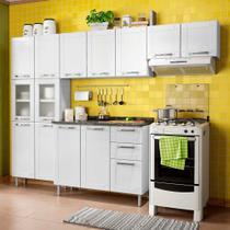 Cozinha de Aço Compacta 3 Peças com 11 Portas Vidro e Balcão 3 Portas 2 Gavetas Multipla Bertolini Branco -