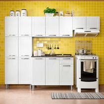 Cozinha de Aço Compacta 4 Peças com 14 Portas e 1 Gaveta Multipla Bertolini Branco -