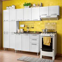 Cozinha de Aço Compacta 4 Peças com 14 Portas e 2 Gavetas Multipla Bertolini Branco -