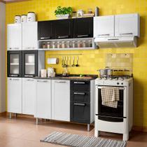 Cozinha de Aço Compacta 4 Peças com 14 Portas, Nicho e 2 Gavetas Multipla Bertolini Branco/Preto -
