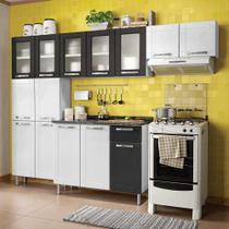 Cozinha de Aço Compacta 4 Peças com 14 Portas Vidro Temperado e 1 Gaveta Multipla Bertolini Branco/Preto/Preto -