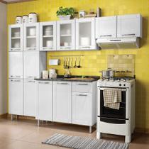 Cozinha de Aço Compacta 4 Peças com 14 Portas Vidro Temperado e 1 Gaveta Multipla Bertolini Branco -