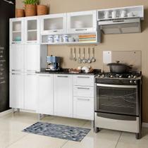 Cozinha de Aço Compacta com Balcão 2 Gavetas, Armários Porta Vidro Temperado e Nicho Multipla Bertolini Branco -