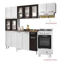 Cozinha de Aço Compacta com Balcão 3 Portas Bertolini e Fogão 4 Bocas Itatiaia Branco/Preto -